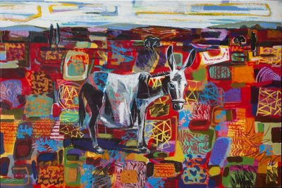 Donkey In Red Landscape