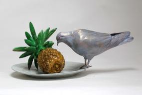 Pigeon tasting pineapple