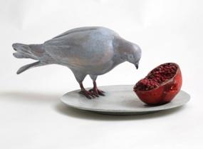 Pigeon tasting pomegranate