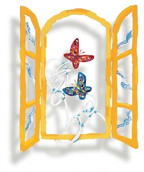 Open window with butterflies