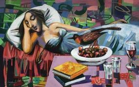 Sleeping Woman With Bird