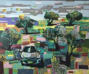 Car Inbetween Trees