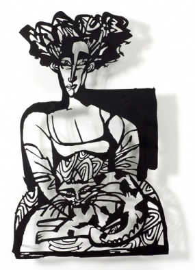 Woman with cat 04